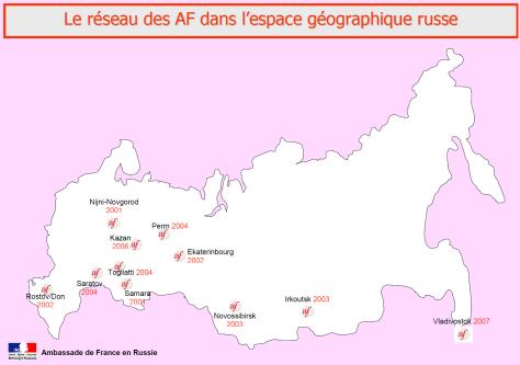 Carte des alliances françaises en Russie
