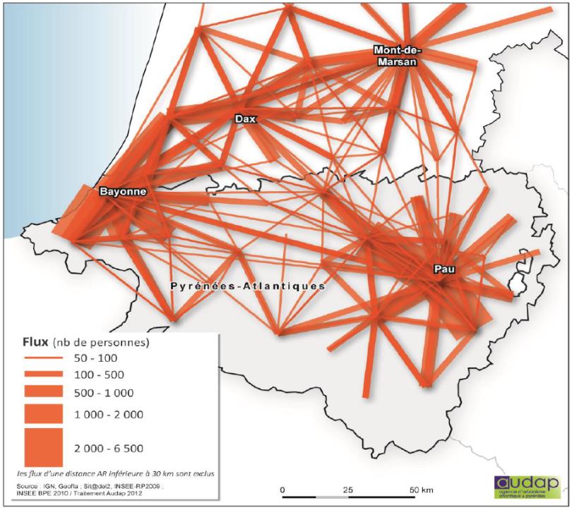 Carte des flux pendulaire en Aquitaine (Sud)