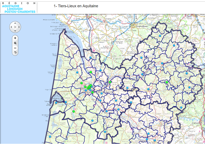 Carte dynamique Tiers-Lieux en Aquitaine (Nord)